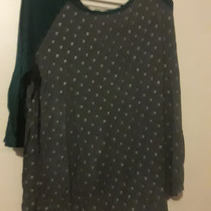 Gray Blouse w/ Silver Spots and Green Half-Sleeves